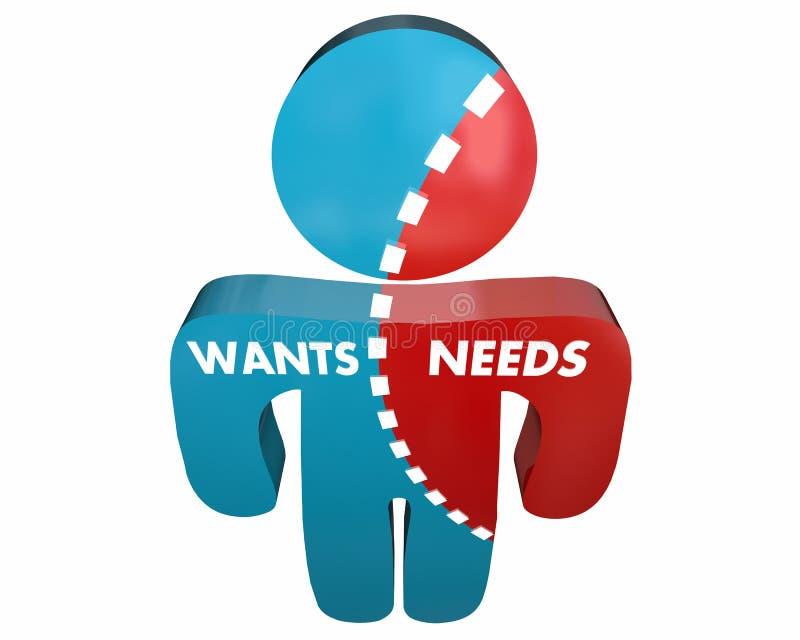 Veut contre les besoins Person Desires Demands Survey illustration de vecteur