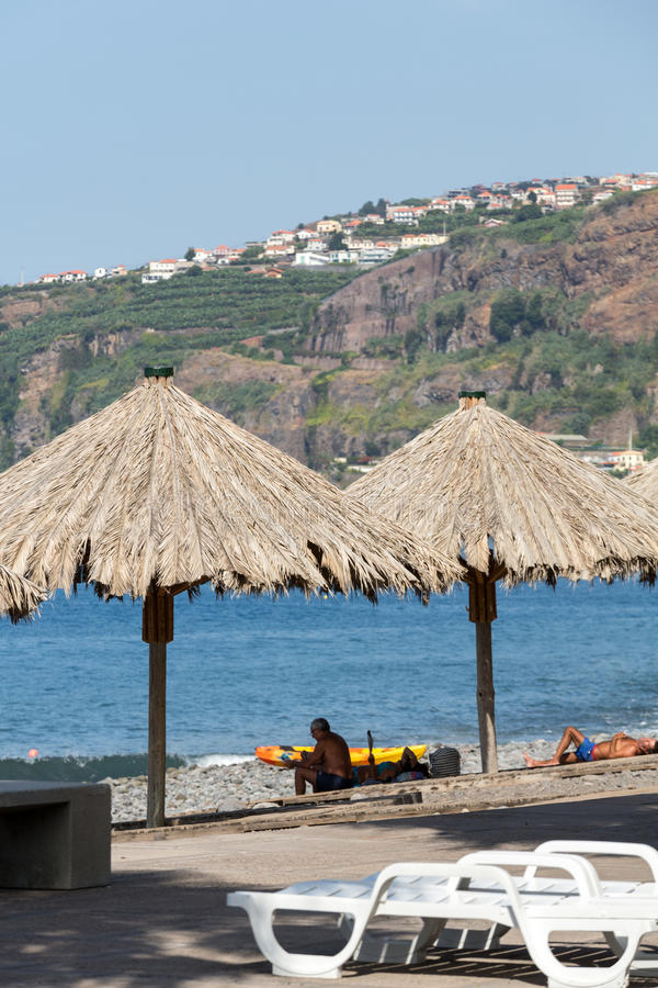 Vew της ακτής Ribeira Brava στο νησί της Μαδέρας στοκ εικόνα