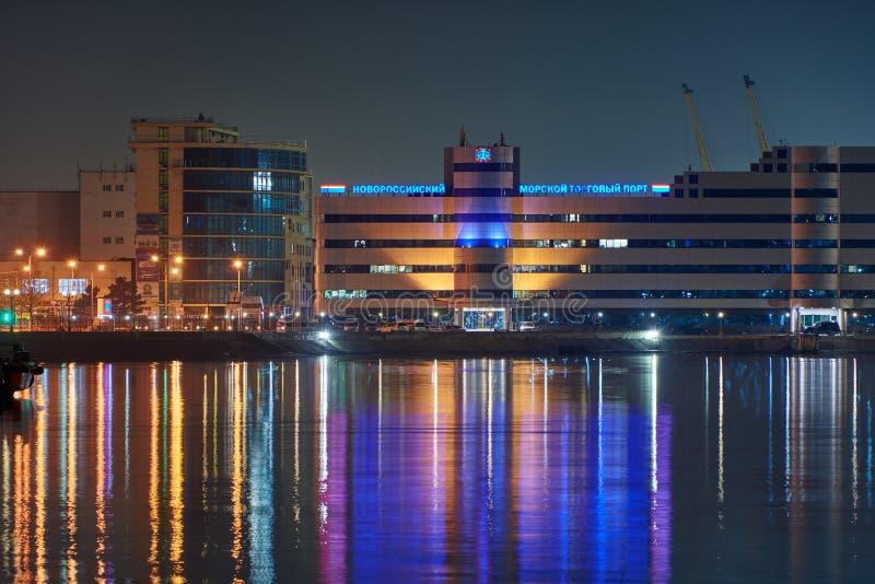 Vew порта Novorossiysk ночи стоковое фото