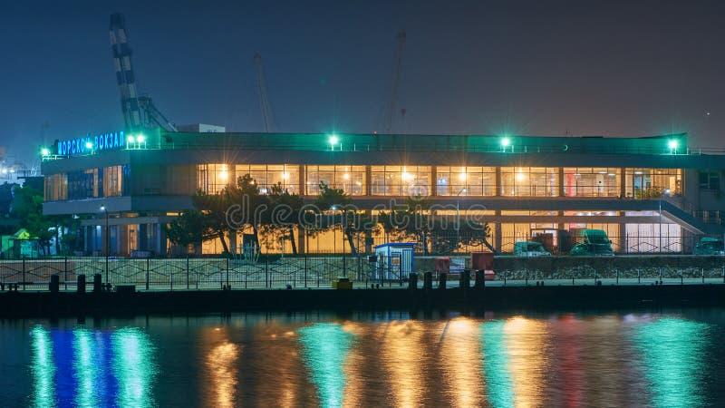 Vew порта Novorossiysk ночи стоковые фото