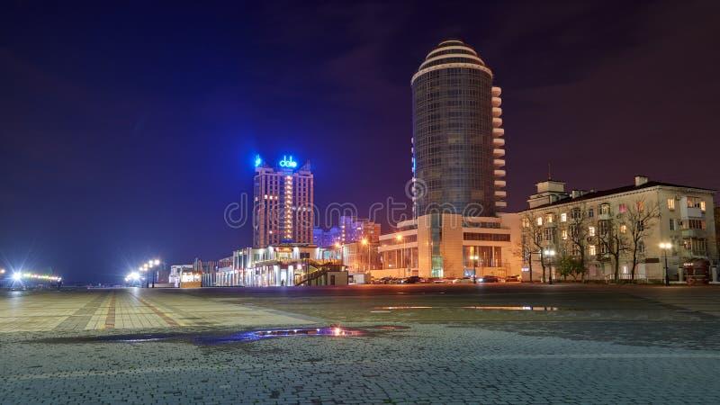 Vew порта Novorossiysk ночи стоковое изображение