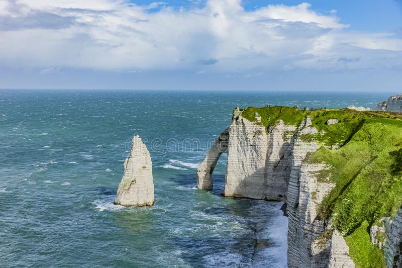 Vew of the Cliffs of Normandy in Etretat royalty free stock photo