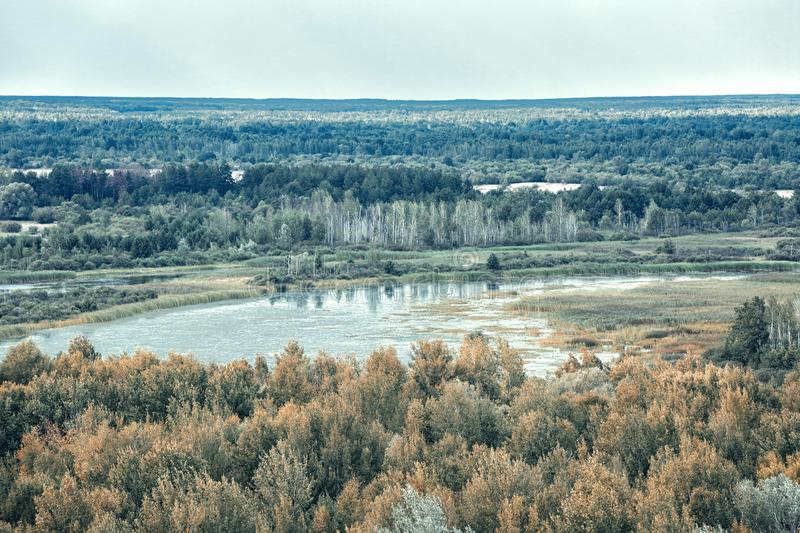 Vew of Pripyat river from roof of 16-storied apartment house in Pripyat town,. Chernobyl Nuclear Power Plant Zone of Alienation, Ukraine stock image