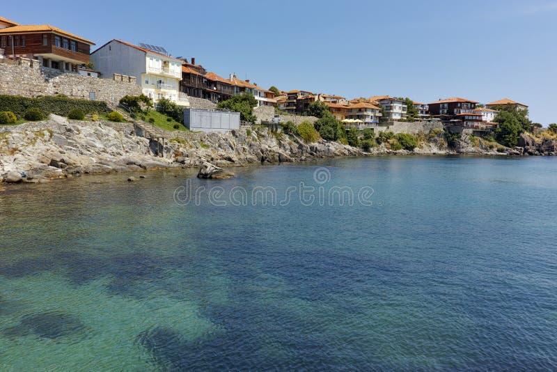 Vew till den gamla staden och Black Sea i Sozopol, Burgas region, Bulgarien royaltyfria foton