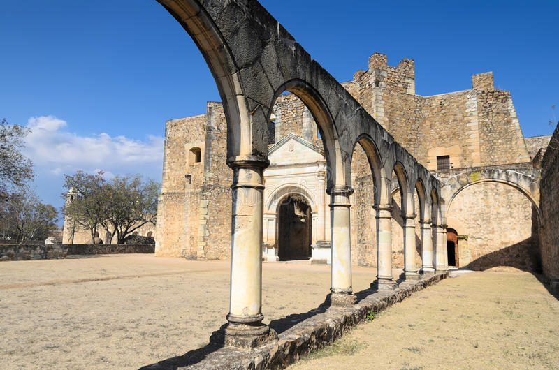 Vew to the yard of Convento de Cuilapam in Oaxaca stock photography