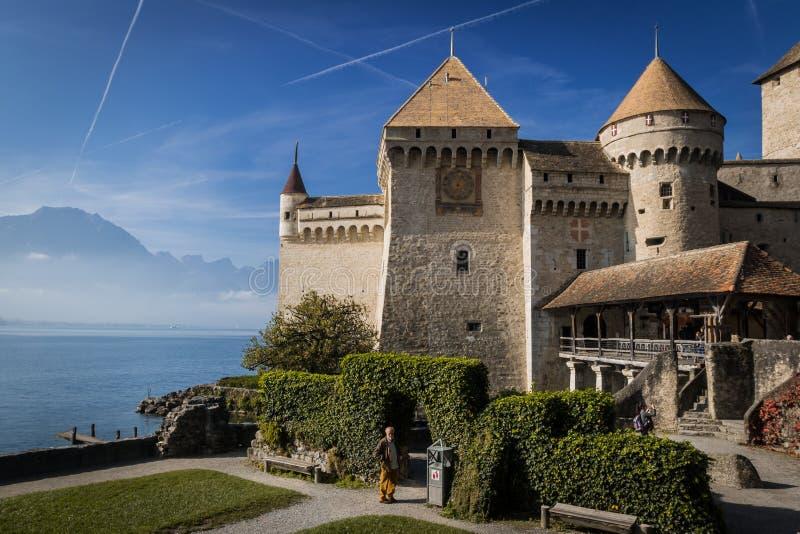 Veytaux, Suíça - NOV 01, 2014: Visão geral do Castelo de Chillon imagem de stock royalty free