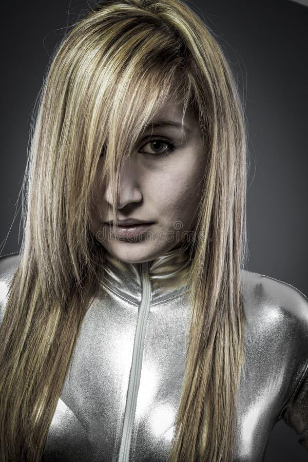 Vezel Optisch concept, vrouw met moderne lichten royalty-vrije stock foto's