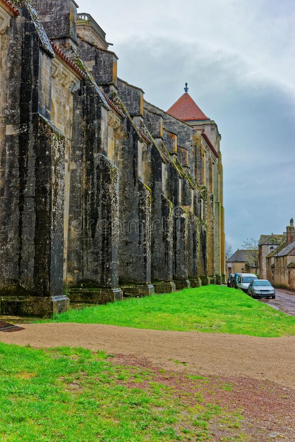 Vezelay Abbey at Bourgogne Franche Comte region in France. Vezelay Abbey at Avallon of Yonne department in Bourgogne Franche Comte region, France royalty free stock photo