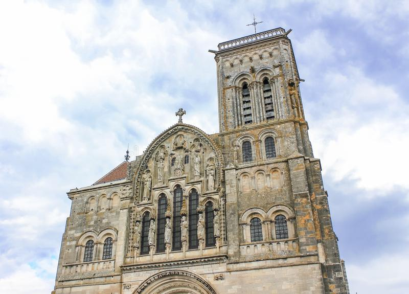 Vezelay Abbey in Burgundy, France. View of the Vezelay Abbey in Burgundy, France royalty free stock photography