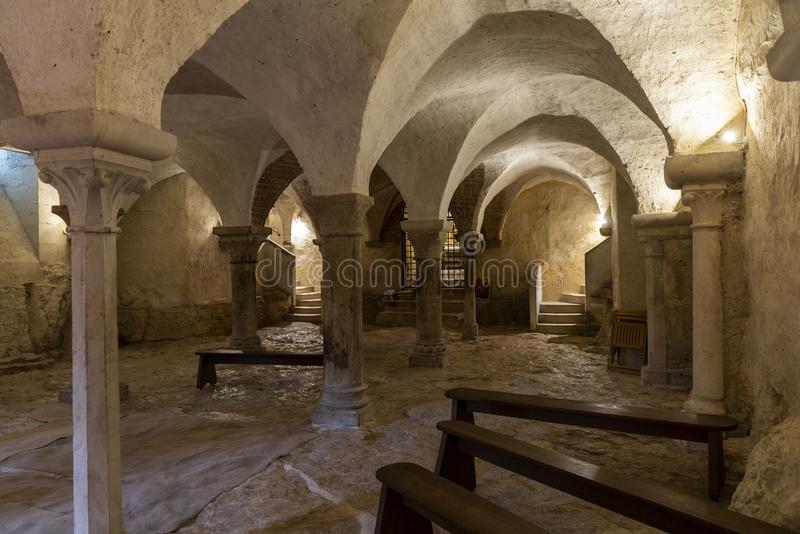 Church with Crypt in Vezelay. Vezelay, France - July 29, 2018: Crypt of the romanesque abbey of Vezelay in Yonne, France royalty free stock photography
