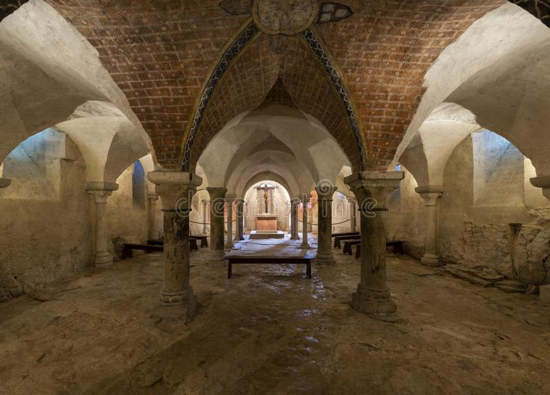 Crypt of Church Vezelay in France. Vezelay, France - July 29, 2018: Crypt of the romanesque abbey of Vezelay in Yonne, France stock image
