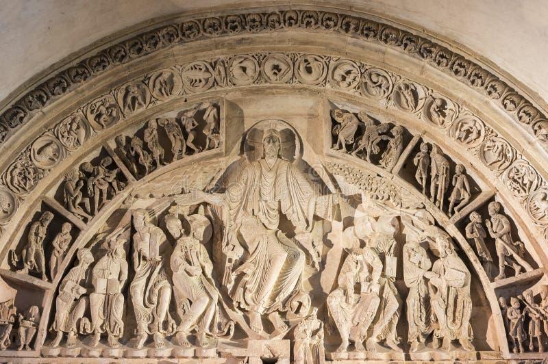 Main Tympan of Church Vezelay. Vezelay, France - July 29, 2018: Main tympan of the romanesque church and abbey of Vezelay in Yonne, France stock photo