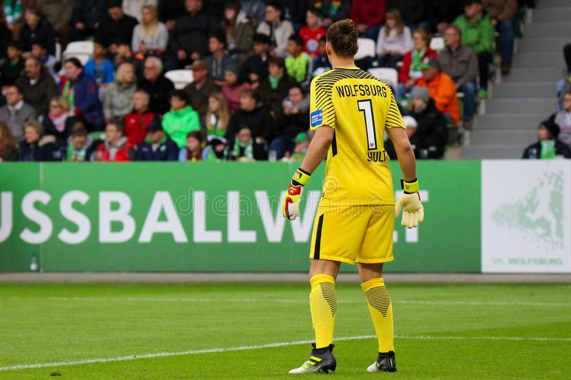 Vfl Wolfsburg vs Atletic Madrid - UEFA Women`s Champions league 2017-2018 seasons. WOLFSBURG, GERMANY October 11 2017. Wolfsburg`s goalkeeper during the 2017/ royalty free stock image