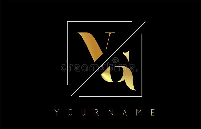 VG Golden Letter Logo with Cutted and Intersected Design. And Square Frame Vector Illustration stock illustration