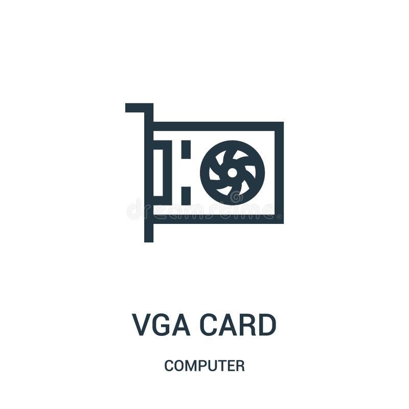 vga卡片从计算机汇集的象传染媒介 稀薄的线vga卡片概述象传染媒介例证 皇族释放例证