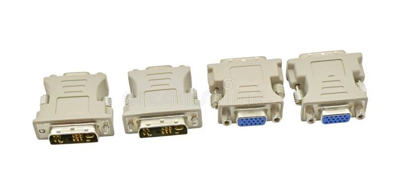 VGA ao conversor da exposição de DVI isolado no branco fotos de stock