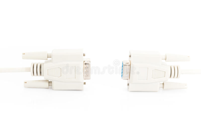 vga input cable connector with white cord stock photo