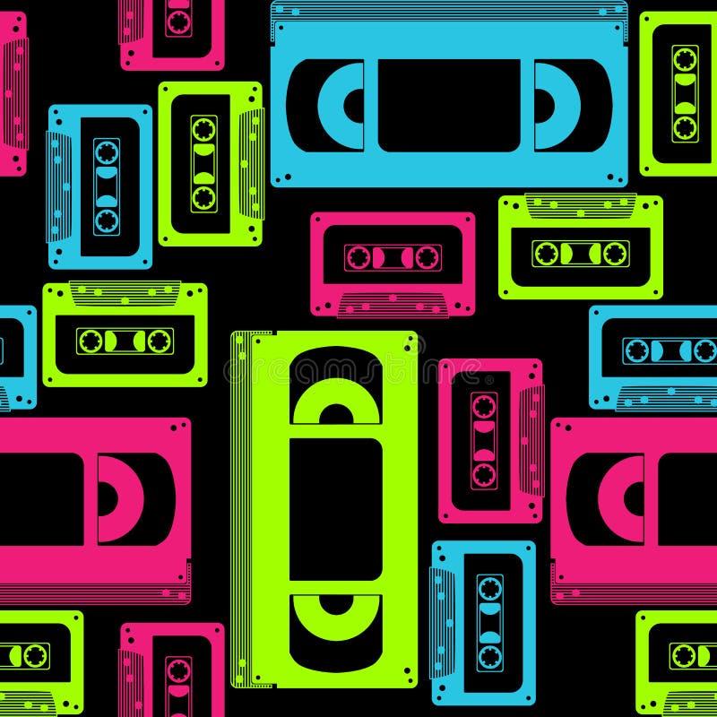 Vhs卡式磁带无缝的样式 库存图片