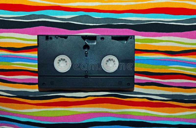 VHS Casette rainbow background studio stock images