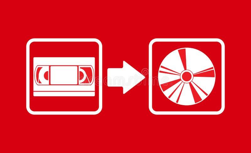 VHS do vetor a transferência cd ilustração do vetor