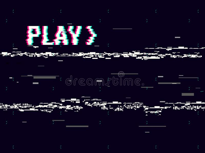 VHS glitch. Play effect background. Retro playback concept. 8 bit pixel inscription. Glitched lines noise. No signal royalty free illustration