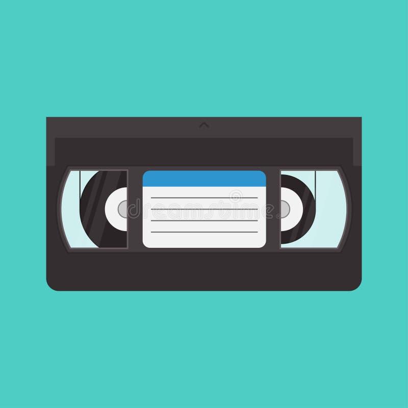 VHS-Kassettenvektorillustration in einer flachen Art stock abbildung