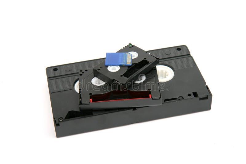 VHS, 8 milímetros mini cartão de DV e de SD fotos de stock royalty free