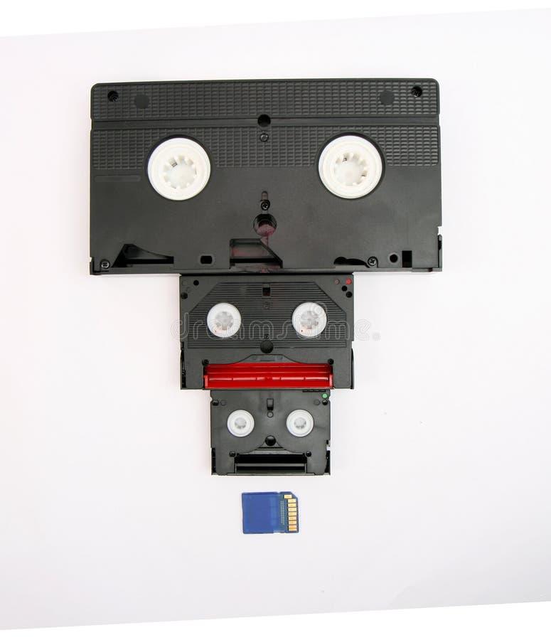 VHS, 8 milímetros mini cartão de DV e de SD fotografia de stock royalty free