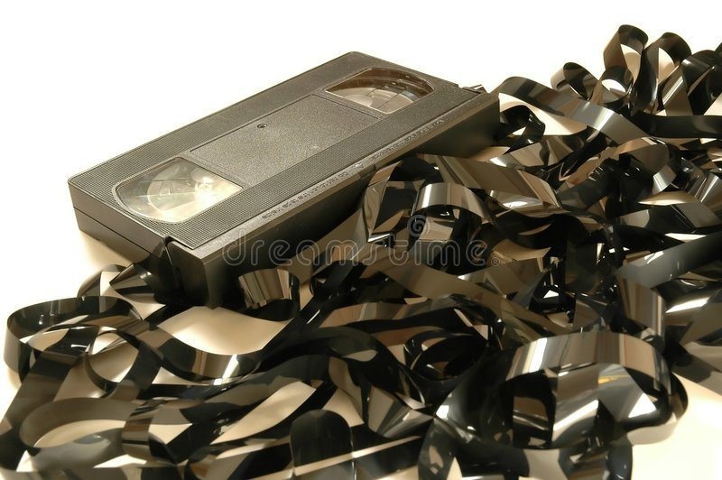 VHS Tape unwound - close royalty free stock image