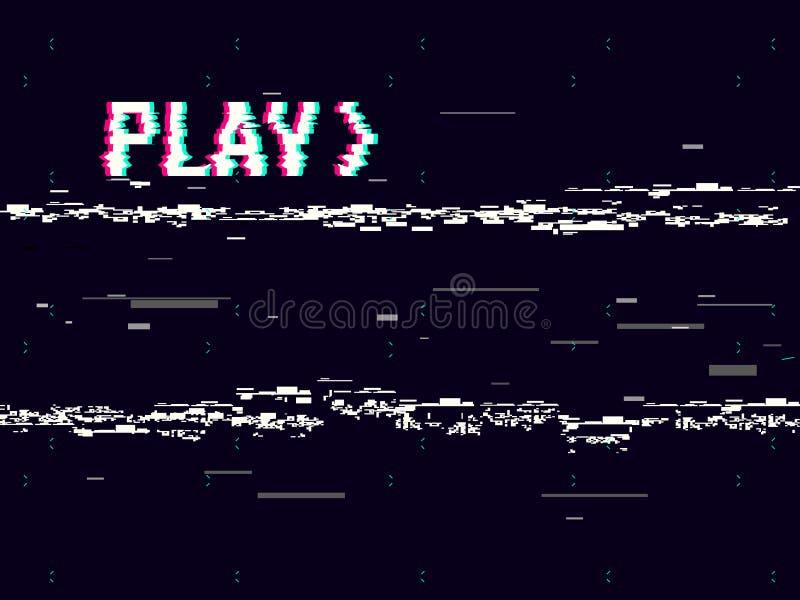 VHS usterka Sztuka skutka tło Retro playbacku pojęcie 8 kawałków piksla inskrypcja Glitched linii hałas brak zasięgu royalty ilustracja