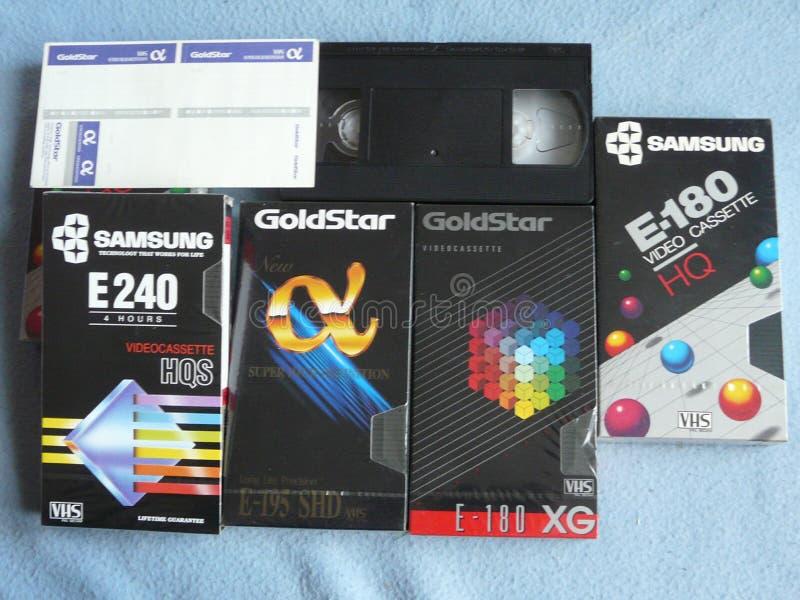VHS VECCHIO VIDEO CASSETES fotografia stock libera da diritti