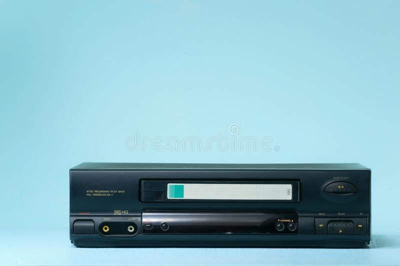 VHS video recorder Retro video recorder with video cassette on a light background royalty free stock photography