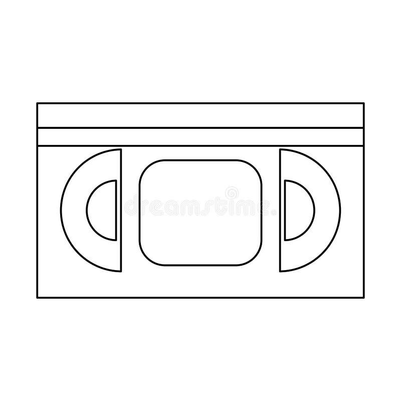 VHS movie reel black and white. VHS videotape movie reel symbol isolated vector illustration graphic design vector illustration