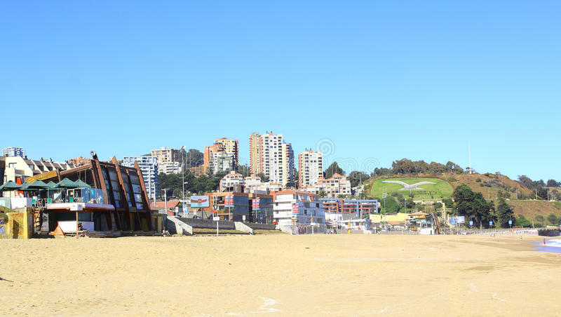 Viña Del Mar, Reñaca e Valparaiso - Chile Opinião da praia fotografia de stock royalty free
