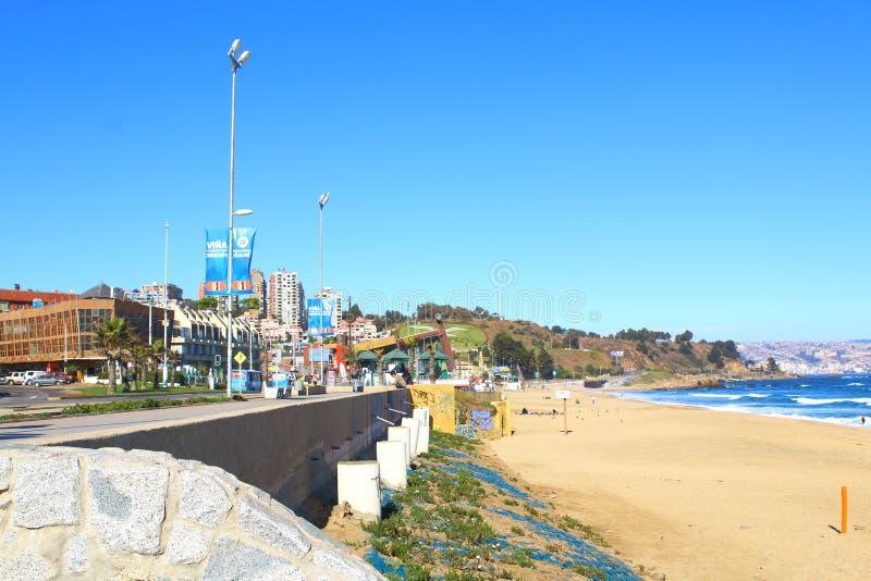 Viña Del Mar, Reñaca y Valparaiso - Chile Opinión de la playa imágenes de archivo libres de regalías