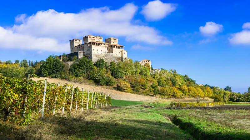 Viñedos y castillos de Italia - de Torrechiara y de x28; cerca de Parma& x29; fotos de archivo