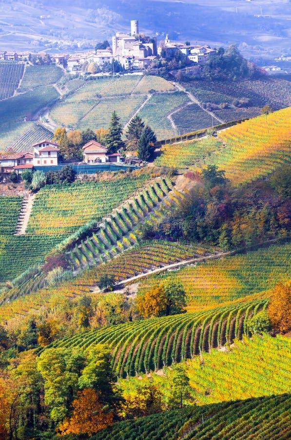Viñedos y castillos de Piemonte en colores del otoño Italia imagenes de archivo