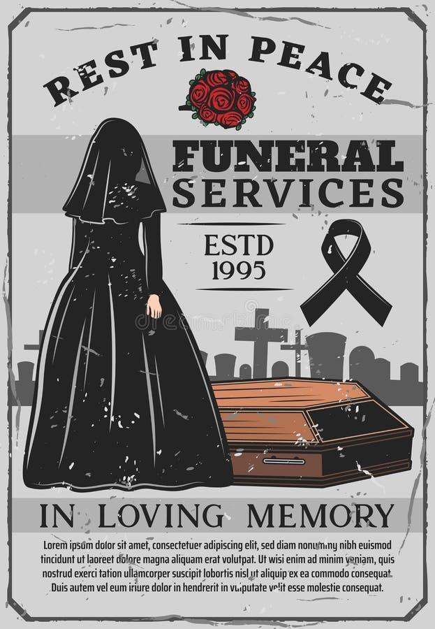 Viúva e caixão, serviço fúnebre, enterro ilustração stock