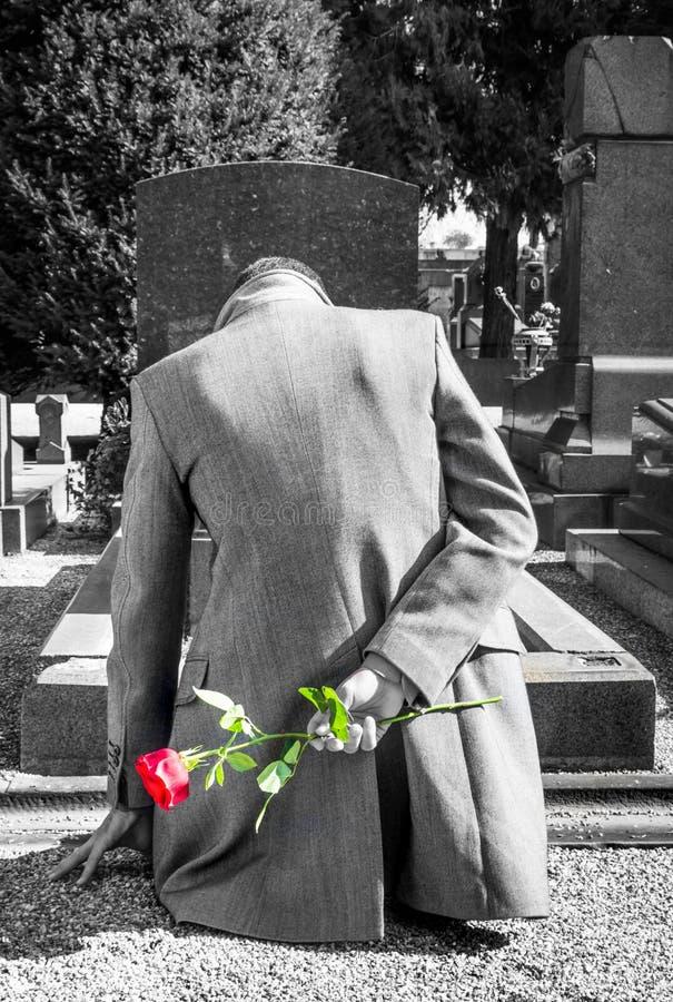 Viúvo em um cemitério imagem de stock