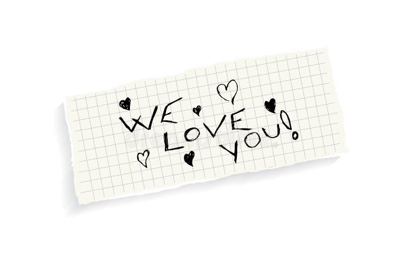 Vi älskar dig! royaltyfri illustrationer