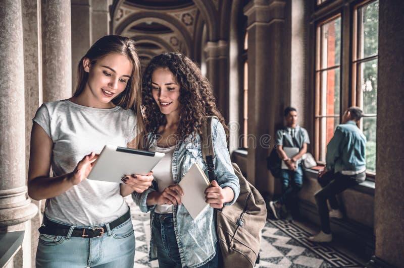 Vi är det bra laget! Två härliga studenter i universitetet som ser minnestavlan, läsning och förbereder sig för examina fotografering för bildbyråer