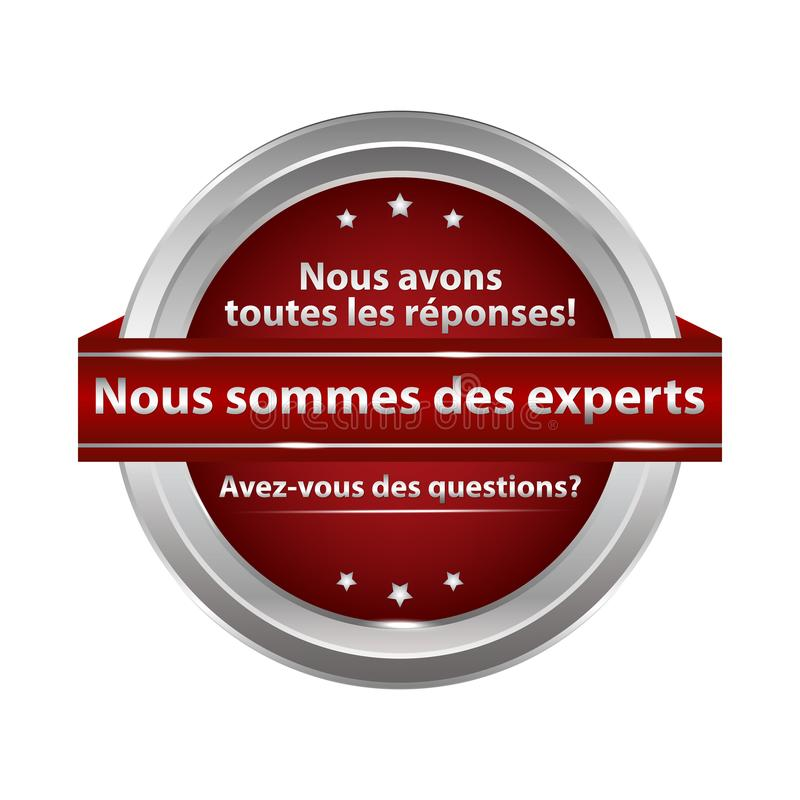 Vi är experter som är skriftliga i franskt - stämpla för rengöringsduk Använda RGB-färger vektor illustrationer