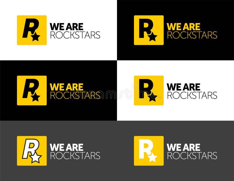 VI ÄR ROCKSTAR-logotyp för din verksamhet, utskrift och logotyp vektorikonbokstav r vektor illustrationer