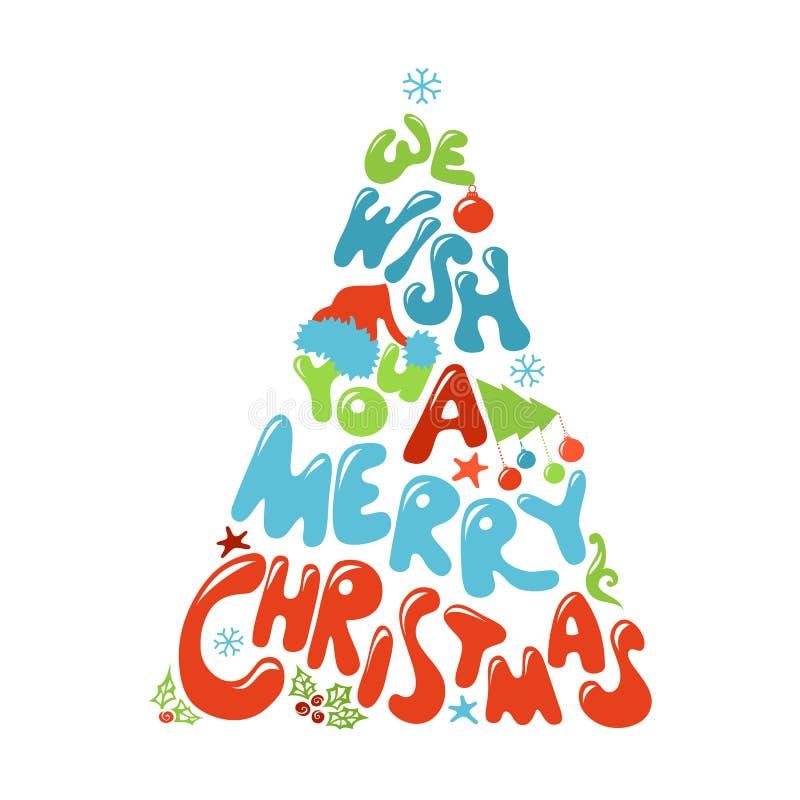 Vi önskar dig en glad julgrandesign royaltyfri illustrationer