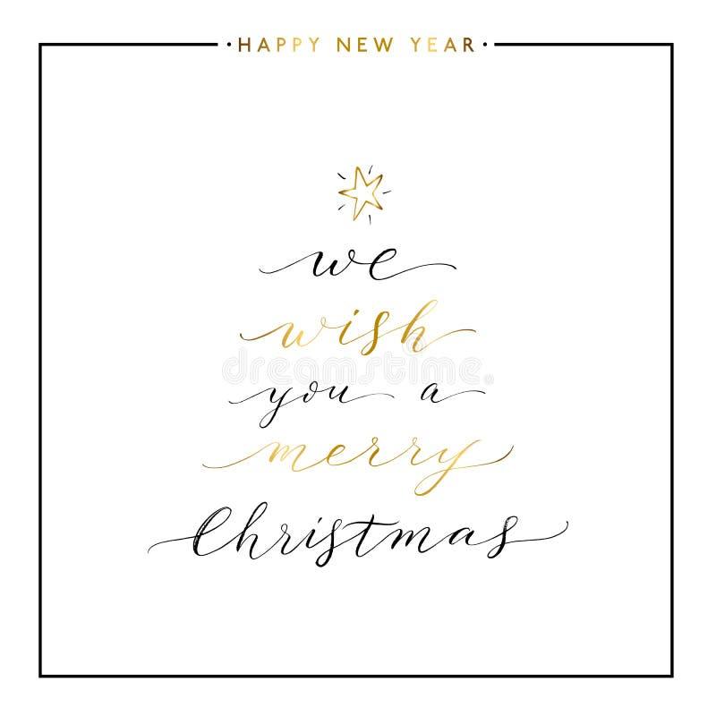 Vi önskar dig en guldtext för glad jul royaltyfri illustrationer