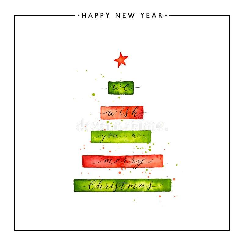 Vi önskar dig en text för glad jul på vattenfärgxmas-träd royaltyfri illustrationer
