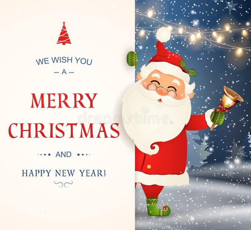 Vi önskar dig glad jul lyckligt nytt år Santa Claus tecken med den stora skylten Glade Santa Claus med klirr stock illustrationer
