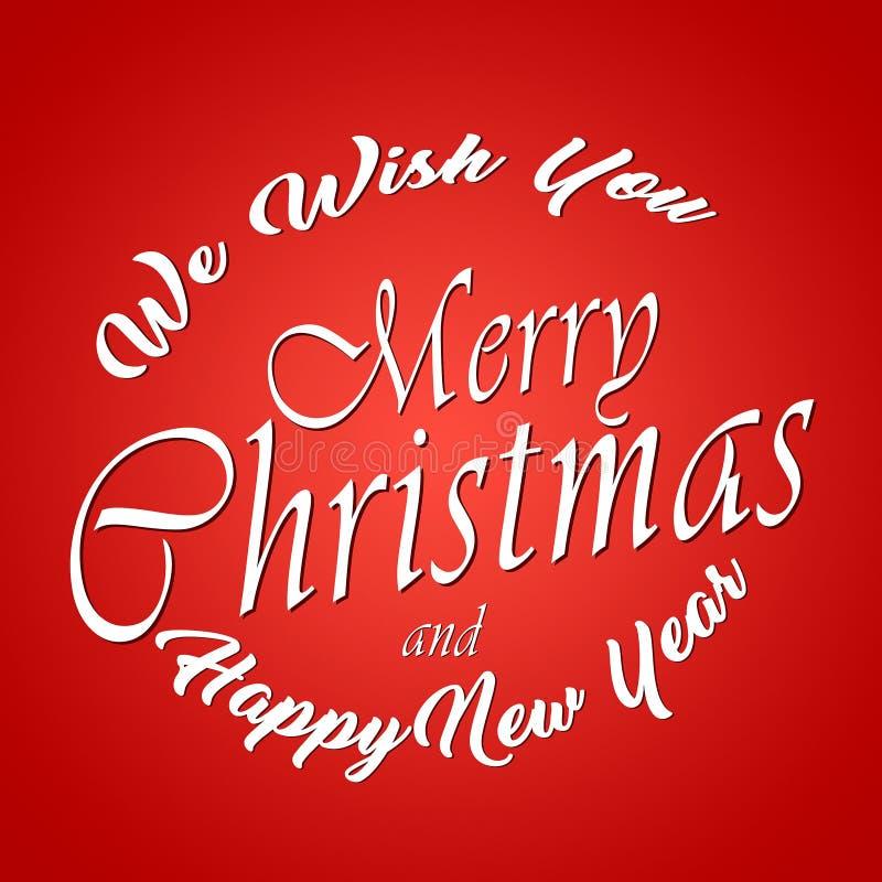 Vi önskar dig glad jul och lyckligt nytt år typografisk bakgrund Original- designbeståndsdel Mall kort, affisch emblem royaltyfri illustrationer