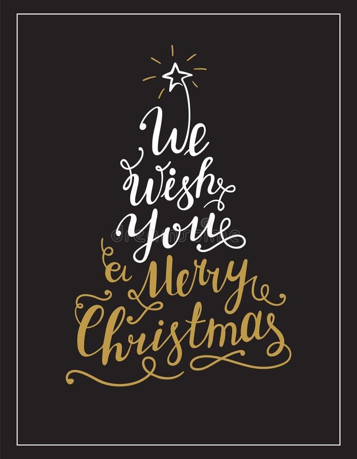 Vi önskar dig glad jul som märker text i formen av julgranen vektor illustrationer