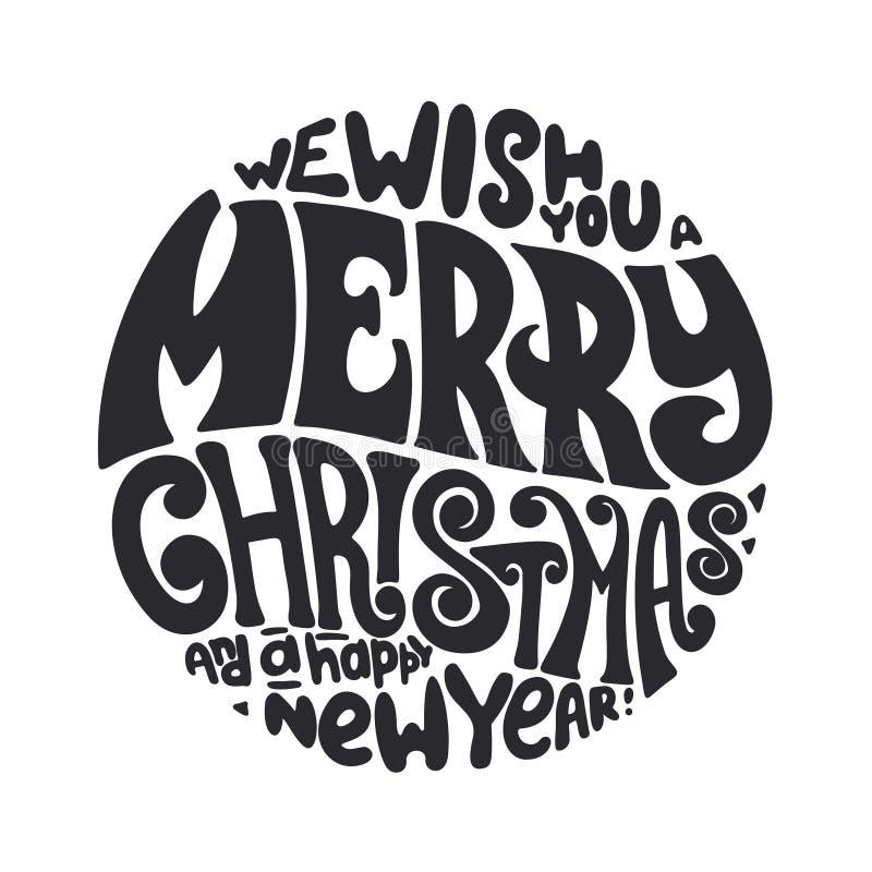 Vi önskar dig typografi för glad jul och för lyckligt nytt år royaltyfri illustrationer